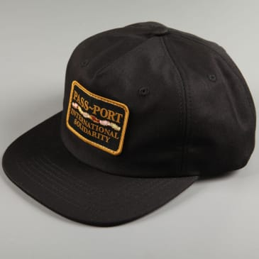 PassPort 'Intersolid Patch' 5 Panel Cap (Black / Black)