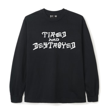 Tired x Thrasher Destroyed Long Sleeve T-Shirt - Black