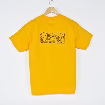 Welcome Skate Store x Alv - It Feels Good Huh? T-Shirt - Gold Yellow