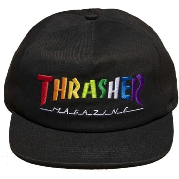 Thrasher Rainbow Mag Snapback Hat Black