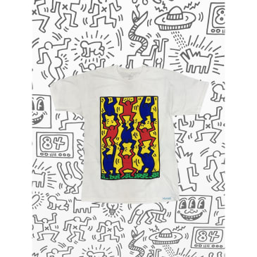 DIAMOND X HARING FINGERS CROSSED TEE - WHITE