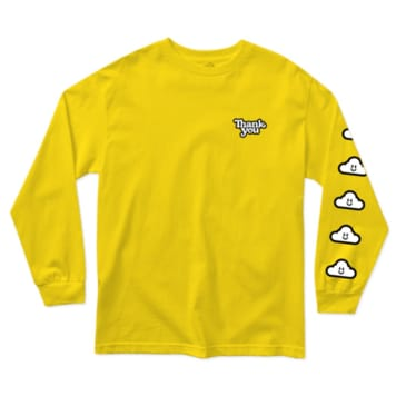 Thank You - Cloudy Long Sleeve Tee - Yellow
