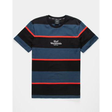 Huf - Mazon Striped KNiot T-Shirt - Insignia Blue