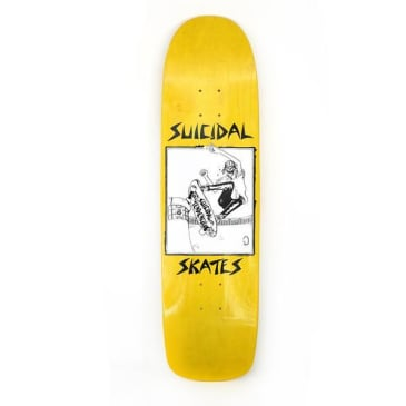 Dogtown X Suicidal Skates Pool Skater Skateboard Deck Yellow Stain - 8.5 x 32.075