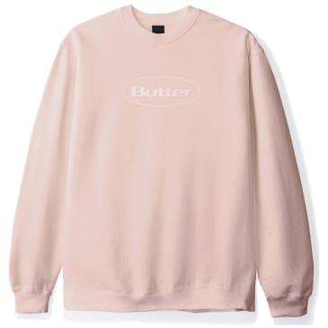 Butter Goods Badge Puff Logo Crewneck Sweater - Dusty Pink