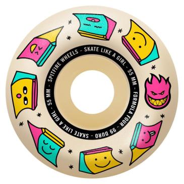 Spitfire - 55mm (99a) Skate Like A Girl Formula Four Skateboard Wheels - Natural