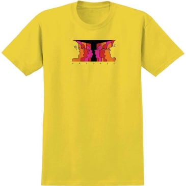 Krooked Skateboards Face Off T-Shirt - Yellow / Red