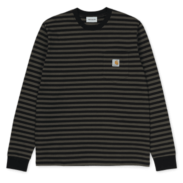 Carhartt WIP L/S Haldon Pocket T-Shirt - Black / Cypress