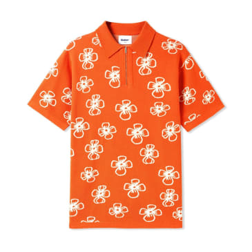 Butter Goods Flower Zip Polo - Rust / Off White