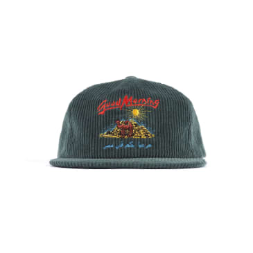 "JUNGLES - ""GOOD MORNING STRAP BACK CORDUROY CAP"" (HUNTER GREEN)"