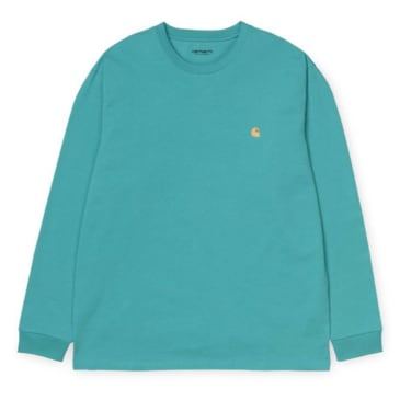 Carhartt WIP Chase Longsleeve T-shirt - Frosted Turquoise