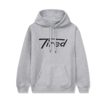 TIRED LONG T LOGO PULLOVER HOODIE - GRAY