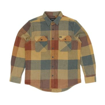 Brixton Bowery Long Sleeved Shirt - Rust/Copper