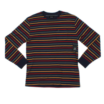 Brixton Hilt L/S Pocket Tee - Washed Navy/Lava Red