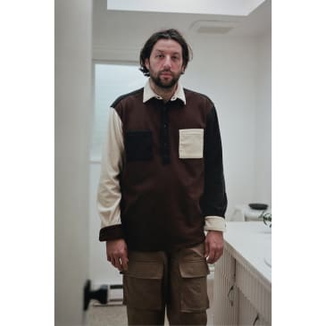LS Popover Shirt Two Brown Combo