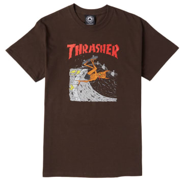 THRASHER NECK FACE TEE - DARK BROWN