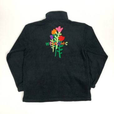Welcome Skate Store - Big Rose Embroidered Fleece - Black