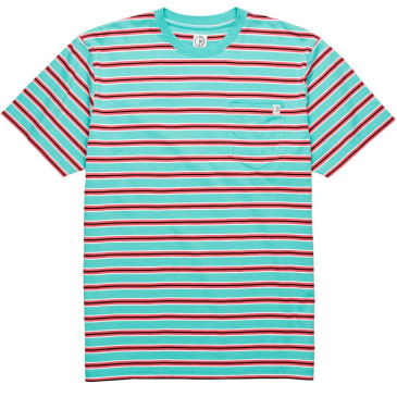 Polar Striped Pocket Tee - Mint/Coral