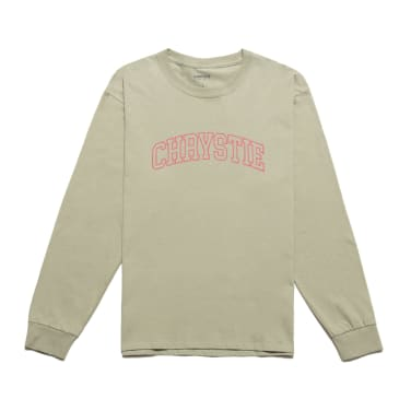 Chrystie NYC - Collegiate Logo Long Sleeve Shirt / Washed Green