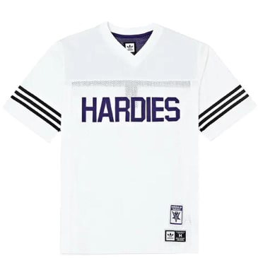 adidas Hardies Jersey T-Shirt - White / Collegiate Purple / Black