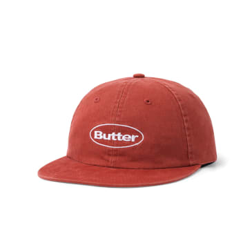 "BUTTER GOODS- ""WASHED BADGE 6 PANEL CAP"" (BURGUNDY)"