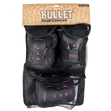 Bullet - Triple Pad Set - Black / Pink - Youth 3-6 Years Extra Extra Small