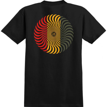 Spitfire Classic Swirl Tee - Black/Red/Gold/Olive