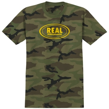 Real Skateboards Oval T-Shirt - Camo / Yellow