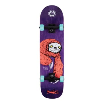 """Welcome Skateboards - 8.0"""" Sloth On Bunyip Complete Skateboard - Coral / Purple Stain"""