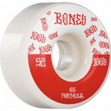Bones Wheels 100's #13 V4 White Skateboard Wheels - 52MM