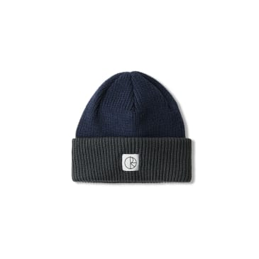 Polar Skate Co Double Fold Merino Beanie - Navy / Grey