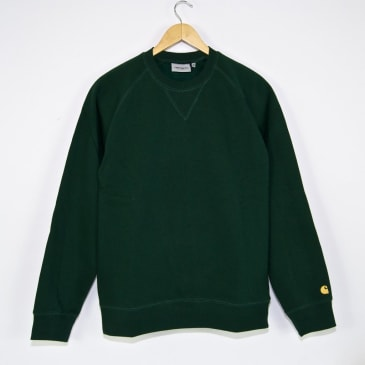 Carhartt WIP Chase Crewneck Sweatshirt - Bottle Green / Gold