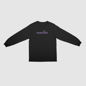 Pass~Port Lavender Long Sleeve T-Shirt - Black