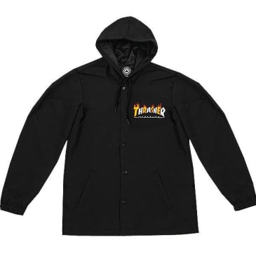 THRASHER FLAME MAGAZINE COACH JACKET - BLACK