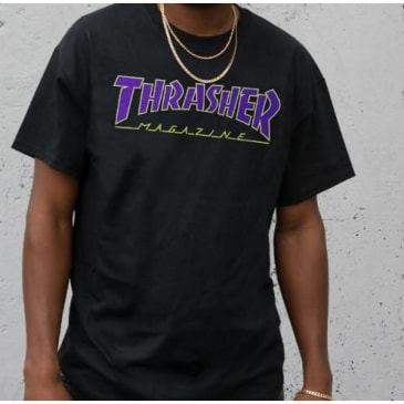 Thrasher Outlined Tee (Black/Purple/Green)