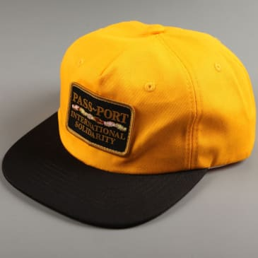 PassPort 'Intersolid Patch' 5 Panel Cap (Gold / Black)