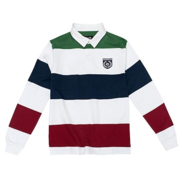 Magenta Skateboards - Long Sleeve Rugby Polo - Green/White/Navy