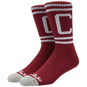 Chocolate W37 Stripe C Socks - Burgundy