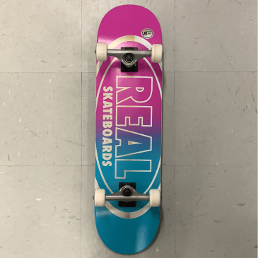 Real Skateboards Oval Logo Pink Blue Complete 8.25 Larger