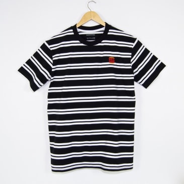 Welcome Skate Store - Burger Embroidered Striped T-Shirt - Black / White