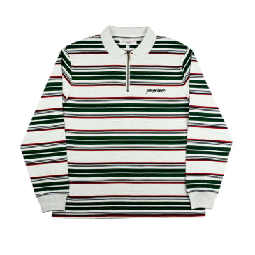 Yardsale Dolores Quarterzip Polo - Ash / Green / Red