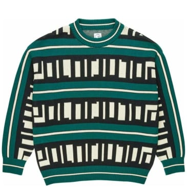 Polar Skate Co Square Logo Knitted Sweater - Green / Black / Ivory