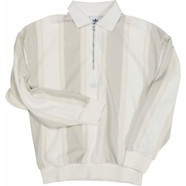 Adidas Velour Rugby Zip Long Sleeve Shirt