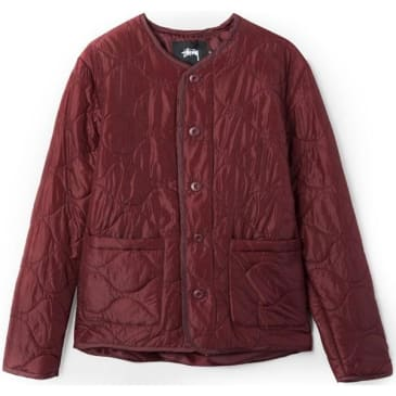 Stussy Quilted Military Jacket Burgundy