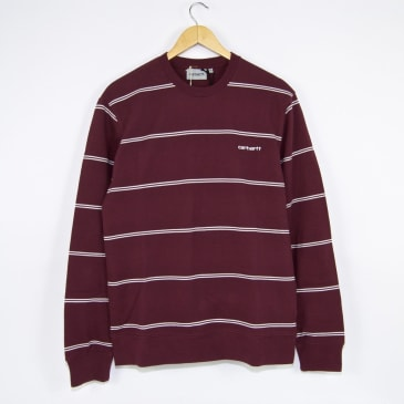 Carhartt WIP Spacer Stripe Crewneck Sweatshirt - Shiraz / White
