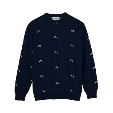 Fucking Awesome Flies Knitted Crew - Navy