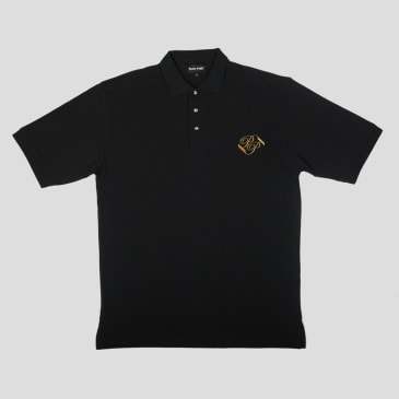"""PASS~PORT """"BANNER"""" EMBROIDERED POLO BLACK"""