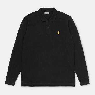 Carhartt WIP Chase Pique Polo Shirt Long Sleeve Black