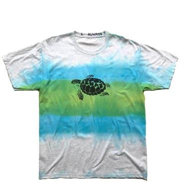 always do what you should do turtle hand dye T-Shirt - Blue Green