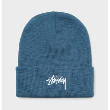 Stussy Stock Logo Embroidered Beanie Blue